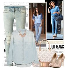 Denim on Denim by fashionistlady on Polyvore featuring moda, MANGO, Balmain, MICHAEL Michael Kors, Urban Decay, Ilia and Kerr®