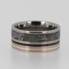 Titanium Wedding Ring that has Meteorite Yellow by jewelrybyjohan, $848.00