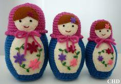Ravelry: Russian Matryoshka Babushka Amigurumi Doll Trio pattern by Cait Harvey.