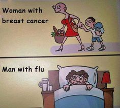 Woman with breast cancer, man with flu.so true! Breast Cancer Survivor, Breast Cancer Awareness, Radiation Therapy, Cancer Quotes, Flu Quotes, Sarcastic Quotes, Flirting Quotes, Cancer Awareness, Messages