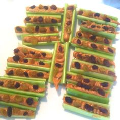 rainforest - ants on a log , food themed activity replace some of the raisins with m&m's