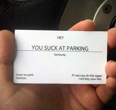 Novelty Car Lot Creditenials - The 'You Suck At Parking' Business Cards Holds No Bars (GALLERY)