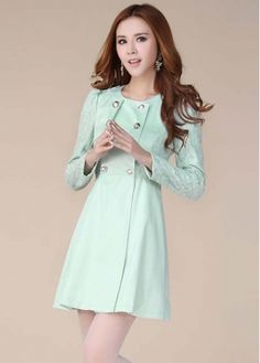 Light Green Long Sleeve Pretty Nylon Trench Coat on sale only US$19.34 now, buy cheap Light Green Long Sleeve Pretty Nylon Trench Coat at martofchina.com