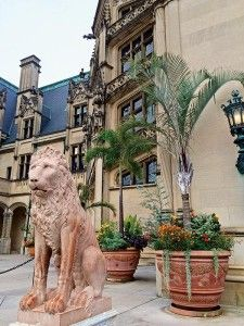 Original lions and terra cotta pots are often replicated by Seibert & Rice in the original style for Biltmore Gardens.