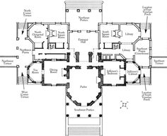 Monticello, ground floor plan. The shaded areas indicate the general outline of the first Monticello.