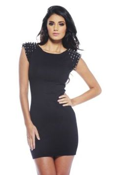 AX Paris Studded Shoulder Bodycon Dress