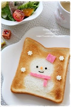 snowman toast. Kawaii food art