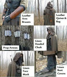 Ranger Outfit Set Complete - Medieval Archer Costume - Custom Made (AB) Renaissance Hut, Renaissance Costume, Medieval Costume, Medieval Archer, Medieval Fantasy, Archer Costume, Sta Rita, Rangers Apprentice, Costume Armour