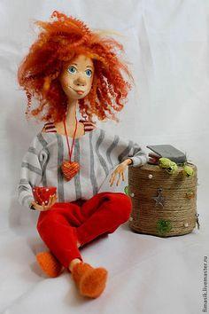 Человечки ручной работы. Ярмарка Мастеров - ручная работа. Купить Анэля. Handmade. Оранжевое настроение, рыжая кукла, теплый подарок