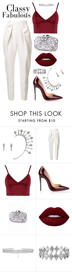 """""""perf. red!"""" by anchilii ❤ liked on Polyvore featuring Chloe + Isabel, Delpozo, Lipsy, Christian Louboutin, Lime Crime, DANNIJO and Bony Levy"""