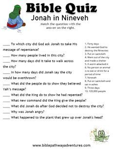 Enjoy our free Bible Quiz: Jonah in Nineveh. Fun for kids to print and test their knowledge. Printable homeschool resources and activities. Sunday School Activities, Bible Activities, Sunday School Lessons, Sunday School Crafts, Bible Games, Church Activities, Bible Study For Kids, Bible Lessons For Kids, Kids Bible