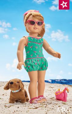 Maryellen's Flamingo Swim Outfit for 18-inch Dolls. Maryellen is ready to make a splash with this bright swim outfit! It includes: • A one-piece flamingo-print swimsuit with a bloomer bottom • Two-tone sandals with knotted bows and ankle straps • A pink hair ribbon attached to a ponytail holder • A fabulous flamingo-shaped purse • Spiffy pink cat-eye sunglasses $34