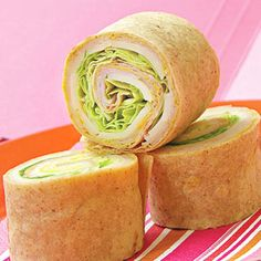 Turkey Tortilla - Place deli turkey, low-fat mozzarella, and lettuce on a whole wheat tortilla. Roll tightly, seal, and refrigerate. Cut into 1-inch slices. For more creative ideas for kids lunches visit https://www.facebook.com/SchoolLunchIdeas you may find something you 'LIKE'