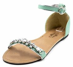 Charles Albert Women's Chic Gem Embellished Sandal with Adjutable Ankle Strap in Turquoise Size: 9