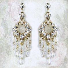 Bridal Earrings Swarovski Crystal & Rhinestone Chandelier Bride Earrings