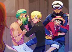 Zoro, Sanji, Law and Luffy One Piece Manga, One Piece Meme, Sanji One Piece, One Piece Funny, One Piece Drawing, One Piece Ship, One Piece Comic, One Piece Fanart, Film Manga