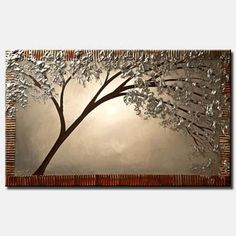 Canvas Art, Modern Wall Art, Stretched, Embellished & Ready-to-Hang Print - Silver Moon - Art by Osnat Beautiful Landscape Paintings, Abstract Landscape Painting, Seascape Paintings, Abstract Print, Landscape Art, Tree Paintings, Canvas Paintings, Canvas Art Prints, Canvas Wall Art