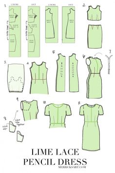 Lime Lace Pencil Dress Tutorial // FREE Easter Dress Sewing Pattern