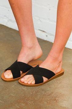 Jet Black Crisscross Sandal Double Strap Sandals, Slide Sandals, Leopard Sandals, Made Clothing, Brown Leopard, Black Wedges, Slip On Sneakers, Cute Shoes, Pedi