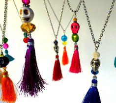Skull Necklace with Tassel, Day of the Dead Necklace, Dia de los Muertos…