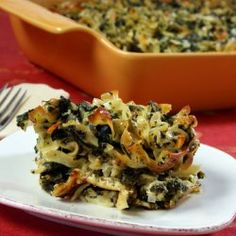 Spinach and Noodle Savory Kugel (Pareve)