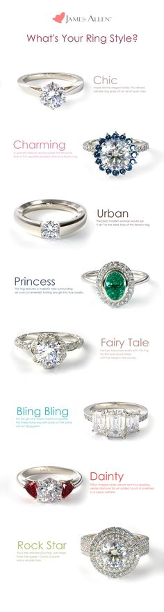 What's Your Ring Style?  Is your dream engagement ring Chic, Charming, Urban, Princess, Fairy Tale, Bling Bling, Dainty or Rock Star? Whatever it may be, you can find it at www.jamesallen.com! #jamesallenrings