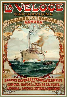 Art Print Italy La Veloce Travel Poster Print 1890