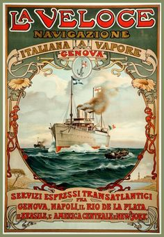 Italy La Veloce Travel Poster Print 1890 by BloominLuvly on Etsy, $9.95