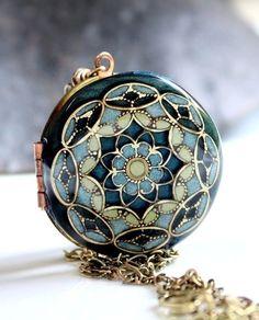 Something Blue Necklace, Wedding Necklace, Vintage Locket, Bridesmaid Necklace, Enameled, Resin Locket