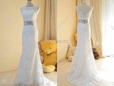 Wholesale Wedding Dress - Buy Actual Image Sheath Wedding Dresses Square Lace Back V-neck Court Long Elegant Bridal Gown, $204.55 | DHgate