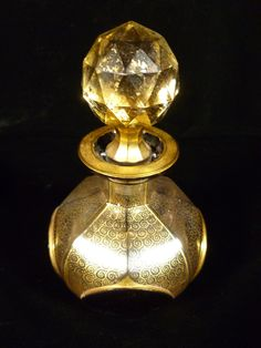 Beautiful Vintage Moser Ruby Cabochon & Gilt Glass Perfume Bottle ...
