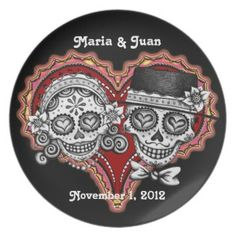 Sugar Skull Couple Plate - Customize for Wedding! #giftsreview#gifts#special