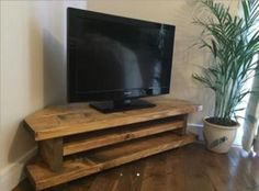 Chunky Rustic TV AUDIO DVD CORNER UNIT MK1 Solid Wood Oak Stain UK made FREE P&P in Home, Furniture & DIY, Furniture, TV & Entertainment Stands | eBay