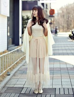 Soft Korean Style Bow Knot Mesh Lace Skirt : tidestore.com