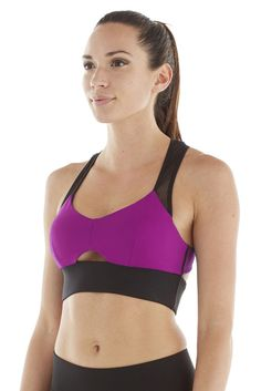 Michi Wildcat Bra - Designer Sports Bra - For the girls that lift with a little extra sass, say hello to Michi's Wildcat bra in Magenta. This feminine high performance bra has built in removable bra cups for custom comfort and fit. One of the best features on this sports bra is the wide elastic chest band; making it great for high interval training. #designersportsbra