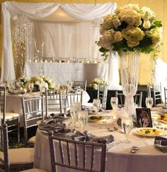 I love the flower displays! Hostess with the Mostess® - Glam White Wedding Reception Decorations, Event Decor, Table Decorations, Reception Ideas, Candle Centerpieces, Centerpiece Ideas, Vases, Candles, Wedding Reception Design