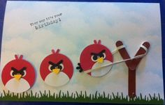 Angry Birds punch art birthday card (no directions, just a picture of the card)