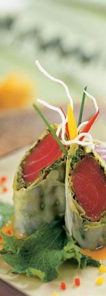 Ahi Tuna Spring Roll With Curry-Mango Vinaigrette