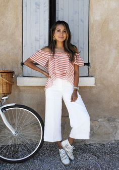 sincerely jules | white culottes | striped off the shoulder top |