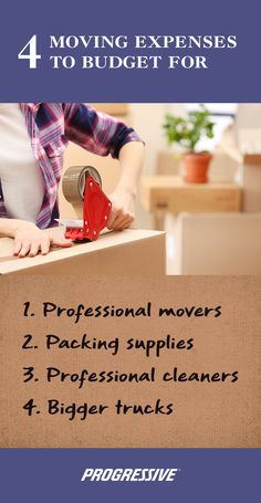 Moving expenses to factor into your moving budget to make your move easier. When it comes to moving anything that makes it easier is worth it! Professional Movers, Professional Cleaners, Progressive Auto, Moving Expenses, Packing Supplies, Protecting Your Home, Selling Your House, Home Insurance, Big Trucks