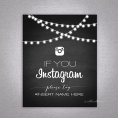 Wedding Instagram Sign Chalkboard Printable by WhiteWillowPaper, $10.00
