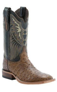Tony Lama Men's Oak Lux Full Quill Ostrich Exotic Square Toe Boots
