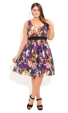 City Chic - DIGITAL GARDEN DRESS - Women's plus size fashion