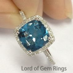 8mm Cushion London BLue Topaz & Diamond Halo Engagement Ring 14K Gold, Stone Option:Emerald/Aquamarine/Amethyst/Citrine/Morganite/Peridot... by TheLOGR on Etsy https://www.etsy.com/listing/163376366/8mm-cushion-london-blue-topaz-diamond