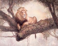 Alex Perkins #art #illustration #painting #lion #wild #animal #relax