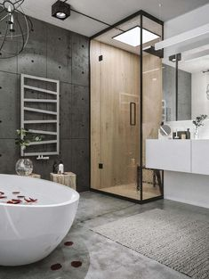 Chic industrial loft in lithuania gets modern updates industrial bathroom design, industrial interior design, Loft Bathroom, Bathroom Layout, Bathroom Interior, Bathroom Ideas, Bathroom Goals, Bathroom Basin, Bathroom Mirrors, Remodel Bathroom, Bathroom Designs