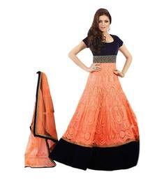 Buy  Orange Embroidery salwar suit with dupatta party-wear-salwar-kameez online