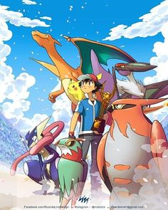 """Ash wins the Kalos League"" Especial fanart for the Pokémon Blast News page on Facebook. #pokemon #anime #fanart  #league #kalos #champions  #ash #ashketchum #trainer #pokemontrainer #charizard #pikachu #talonflame #noivern #greninja #hawlucha #trophy #halloffame #characters #digitalart #art #lira #ricardolira"
