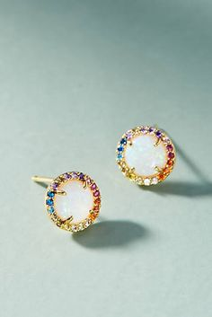 Rainbow Opal Post Earrings