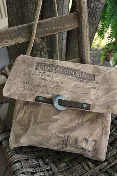 cinnamon creek dry goods....... #423 Farm Store Bag waxed canvas, 11x11 ( approximately)  Leather and metal trim,  woven jute cord strap.....                                 44.00
